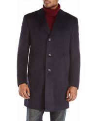 Tommy Hilfiger Charcoal Cashmere Overcoat - Lyst