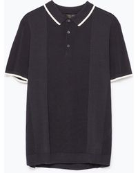 Zara Mixed Fabrics Polo Shirt - Lyst