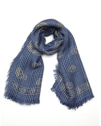 Alexander McQueen Blue And Grey Plaid And Skull Printed Silk And Wool Scarf - Lyst