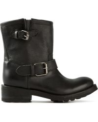 Ash Buckled Low Chunky Heel Boots - Lyst