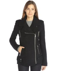 French Connection Black Wool Blend Boucle Moto Jacket - Lyst