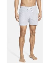 Lacoste Striped Seersucker Swim Shorts - Lyst