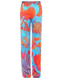 Roberto Cavalli Printed Silk Trousers - Lyst