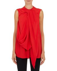 Givenchy Twisted Drapefront Sleeveless Blouse - Lyst