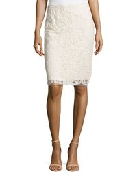 Nicole Miller Embroidered Mesh Pencil Skirt - Lyst
