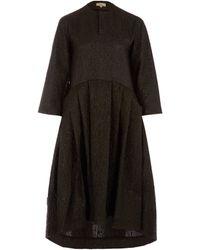 Studio Nicholson - Black Effie Oversize Texture Cotton-blend Midi Dress - Lyst