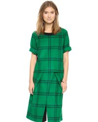 Tibi Evergreen Plaid Top Evergreen Multi - Lyst