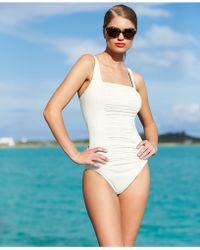 Calvin Klein Ruched-Panel One-Piece Swimsuit - Lyst