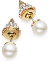 Cara Spike-back Faux Pearl Stud Earringsgold - Lyst