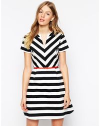 Oasis Striped Skater Dress - Lyst