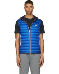 Moncler Royal Blue Quilted Down Hooded Naples Vest - Lyst
