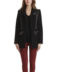 Balmain Wool Leather Coat - Lyst