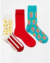 Asos 3 Pack Popcorn Ankle Socks - Lyst