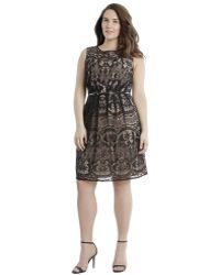 Adrianna Papell Romantic Lace Dress - Lyst