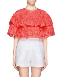 MSGM Cropped Eyelet Layered Top - Lyst