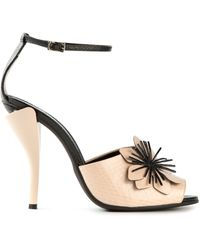 Fendi Floral Detail Sandals - Lyst