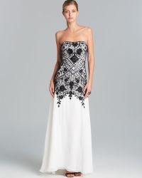 Sue Wong Gown Strapless Contrast Lace - Lyst