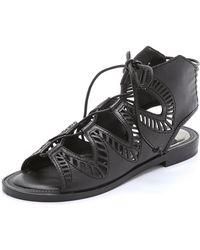 Dolce Vita Deklon Lace Up Flat Sandals - Mocha - Lyst