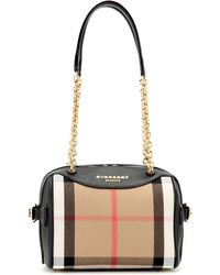 Burberry Prorsum - The Alchester Check And Leather Bowling Bag - Lyst