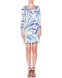 Emilio Pucci 34-sleeve Dress W Square Border Trim - Lyst