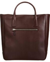 Barneys New York Brown Classic Tote - Lyst