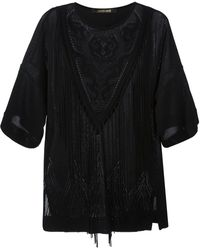 Roberto Cavalli Embroidered Tassel Blouse - Lyst
