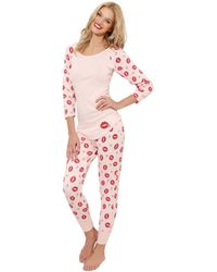 Betsey Johnson Pink Lips Thermal Lounge Pants - Lyst