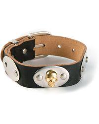 Alexander McQueen Black Buckled Bracelet - Lyst