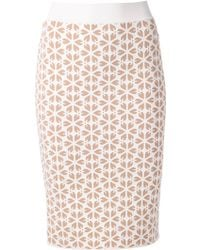 Alexander McQueen Embossed Cut Out Flower Jacquard Skirt - Lyst