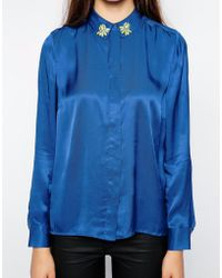 American Retro - Galactica Long Sleeve Shirt With Embellished Collar - Lyst