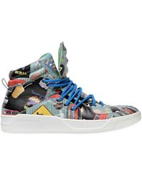 Dolce & Gabbana Printed Leather High Top Sneakers - Lyst