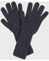 Paul Smith Grey 'Optical' Knitted Lambswool Gloves - Lyst