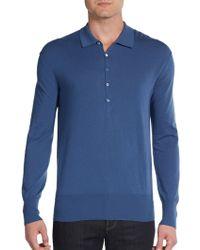 Burberry Prorsum Merino Wool Long-Sleeve Polo Shirt - Lyst
