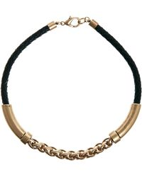 Mango - Leather Gold Chain Bar Necklace - Lyst