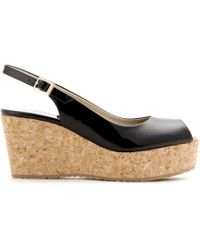Jimmy Choo Praise Patent Leather Wedges - Lyst