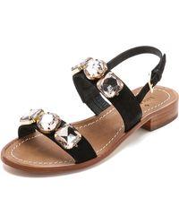 Kate Spade Bacau Jeweled Flat Sandals - Black - Lyst