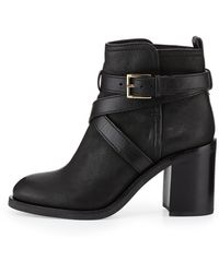 Tory Burch Hastings Crossstrap Leather Bootie Black 375b75b - Lyst