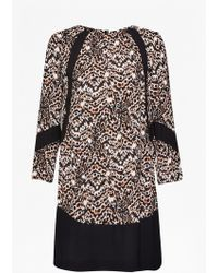 French Connection Leopard Moth Tunic Dress black - Lyst