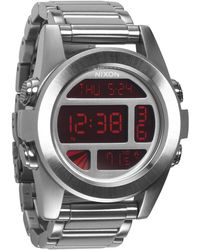 Nixon Unit Ss Grey And Red Watch - Lyst