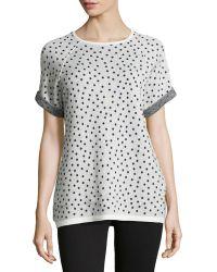 Halston Heritage Short-sleeve Polka-dot Sweatshirt - Lyst