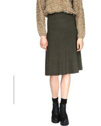 Pixie Market Olive Knit Midi High Waist Skirt - Lyst