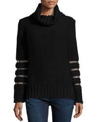 Philosophy di Alberta Ferretti Sheer Sleeve Cowl-neck Sweater - Lyst