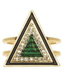 House Of Harlow Teepee Triangle Ring Green - Lyst
