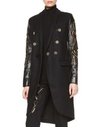 Versace Embroidered Leather-sleeve Coat - Lyst