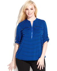Calvin Klein Plus Size Striped Zipperneck Top - Lyst