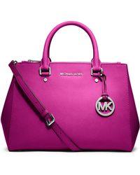 MICHAEL Michael Kors Sutton Medium Saffiano Satchel Bag purple - Lyst