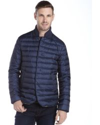 Armani Blue Quilted Contrast Collar Down Coat - Lyst