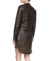 Halston Heritage Leather Shirtdress with Attached Jacket - Lyst