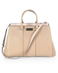 Gucci Lady Bamboo Leather Top Handle Bag beige - Lyst
