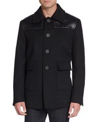 Burberry Prorsum Leather-paneled Virgin Wool Coat - Lyst